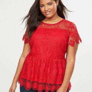 Lane Bryant red lace illusion top